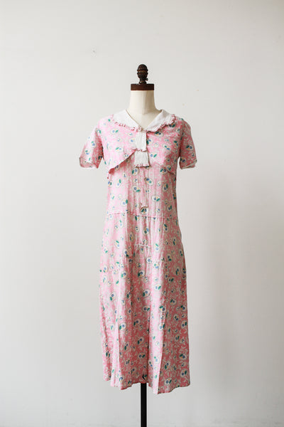 1930s Pink Feedsack Floral Motif Print Day Dress