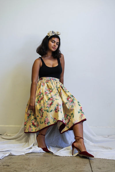 1950s Handmade Twill Cotton Rosette Circle Skirt