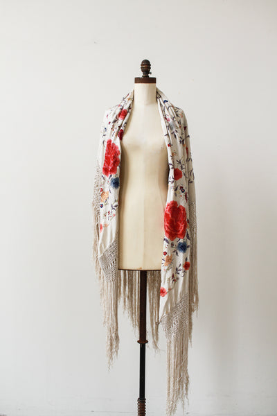 1920s Beige Grey Heavy Embroidered Piano Shawl