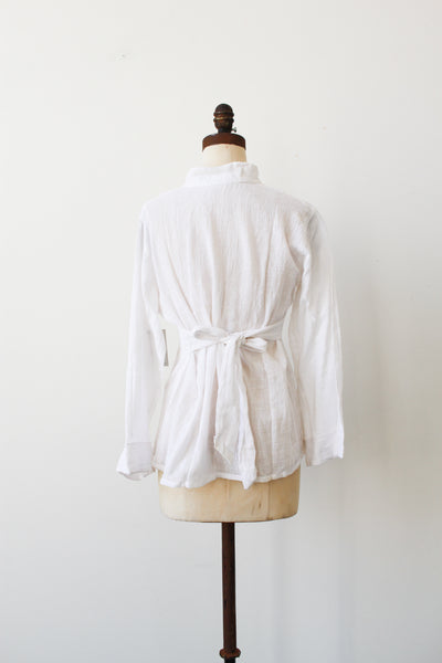 1970s Deadstock Indian Gauzy Cotton Tie Blouse