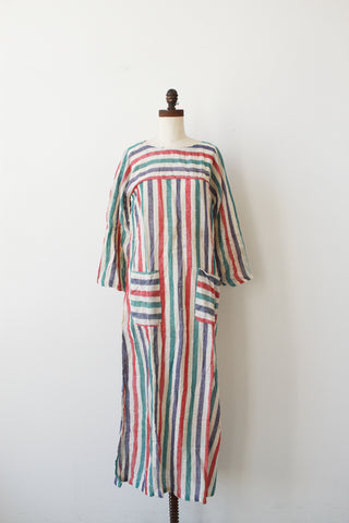 1970s Deadstock Indian Gauzy Striped Maxi Dress