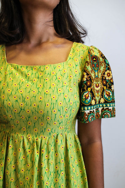 1970s Mixed Print Chartreuse Maxi Dress