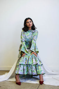 1960s Psychedelic Floral Print Tiered Gown