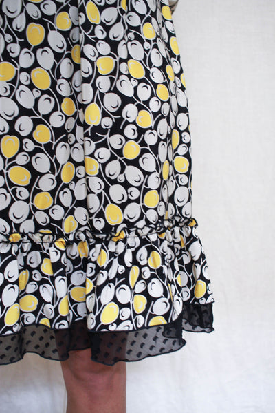 1990s Anna Sui Silk Kumquat Print Dress
