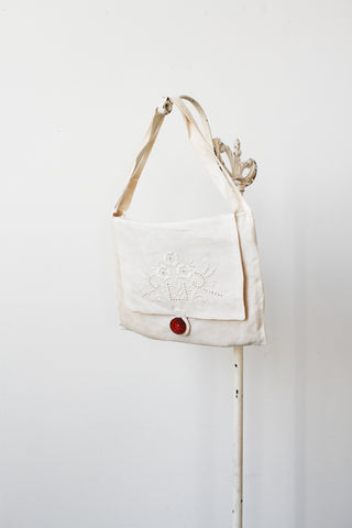 Edwardian Cream Linen Handbag
