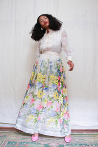 1960s Sheer Layered Floral Maxi Dress