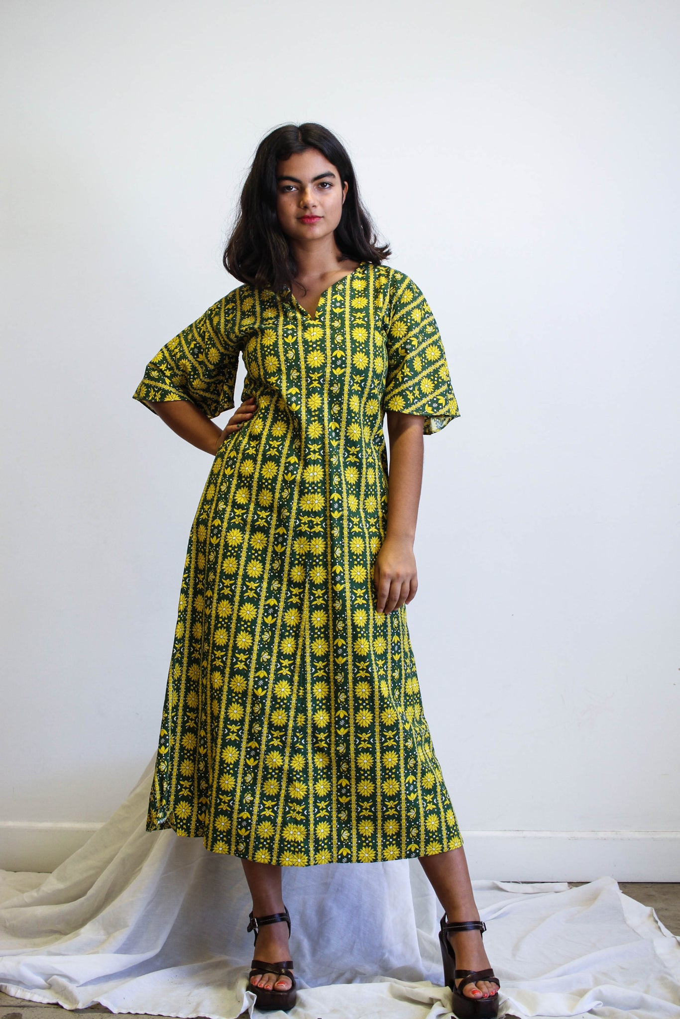 1960s Sunflower Hippy Print Cotton Dress