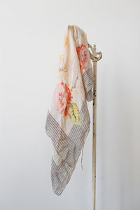 1940s Soft Silk Pastel Floral Print Scarf