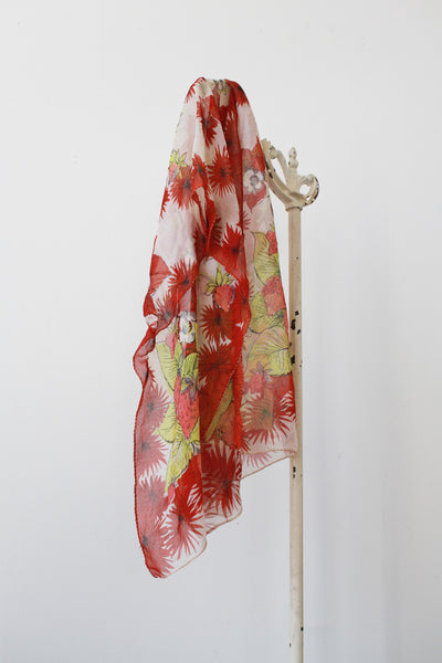 1960s Chiffon Strawberry Fields Scarf