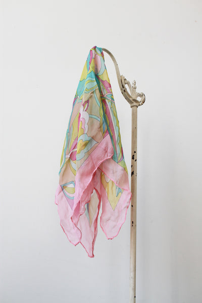 1960s Pucci-esque Abstract Print Silk Scarf