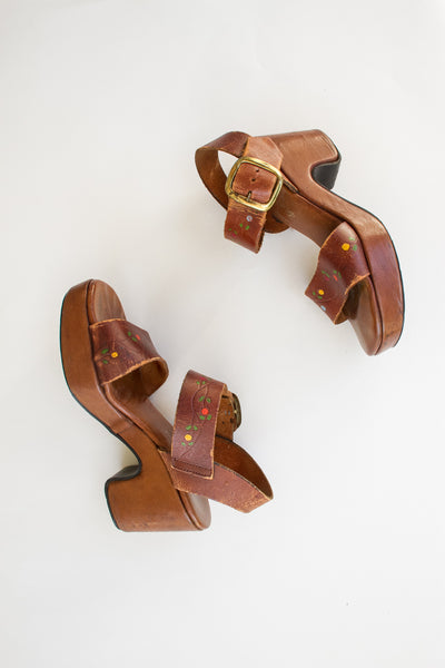 1960s Leather Tooled Strap Wedges | 6