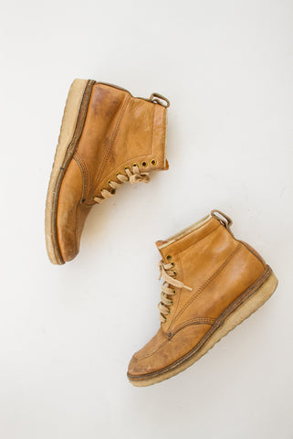 1950s Leather Camel Moc Toe Boots | 7