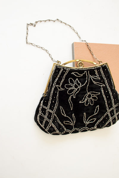1920s Art Deco Velvet Beaded Purse
