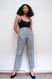 1980s Houndstooth Plaid Linen Trousers