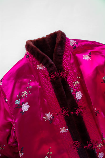 1970s Reversible Berry Chinese Embroidered Faux Fur Jacket
