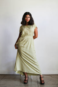 1990s Silk Celery Wrap Maxi Dress