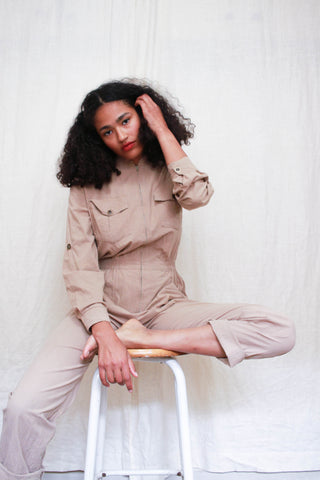 1970s Soft Cotton Khaki Jumpsuit