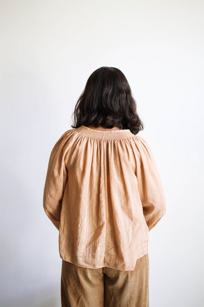 1970s Beige Peach Smock Blouse