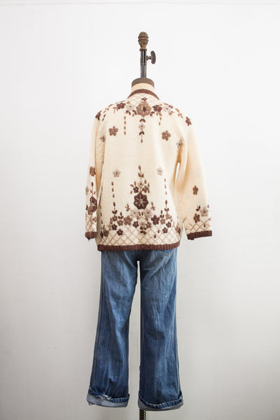 1950s Hand-Loomed Beige Floral Knit Sweater