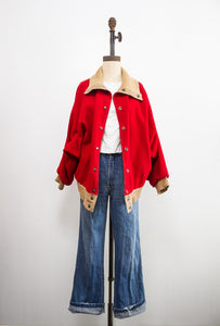 1950s Reversible Red Wool Oversized Jacket