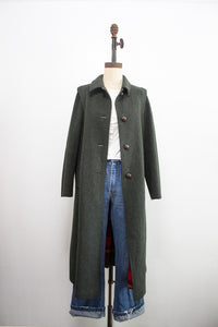 1970s Forest Green Wool Structured Coat