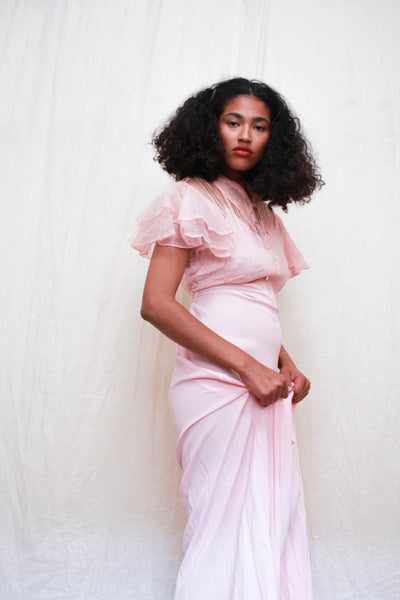 1940s Baby Pink Rayon Mesh Gown