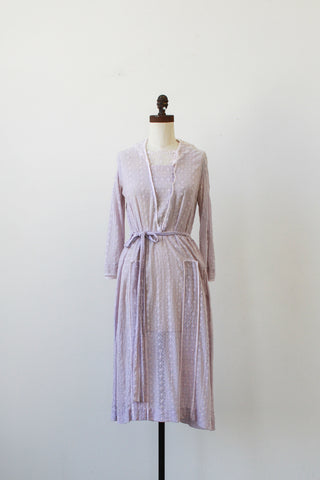 1920s Lilac Embroidered Lace Collared Dress