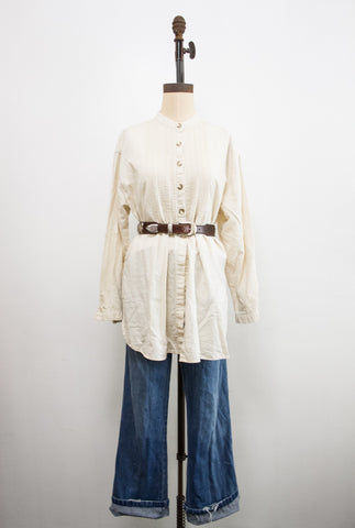 1990s Cream Pleated Bib Shirt
