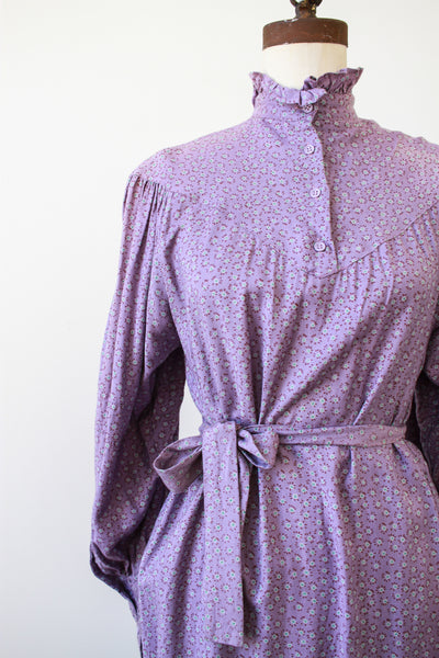 1970s Adini Violet Cotton Floral Dress