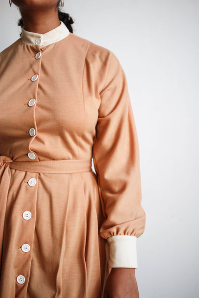 1960s Beige Peach Long Sleeve Button Up Mini Dress