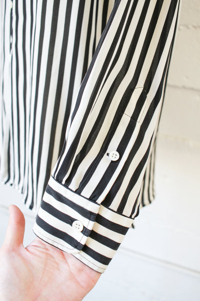 1990s Ralph Lauren Striped Silk Blouse