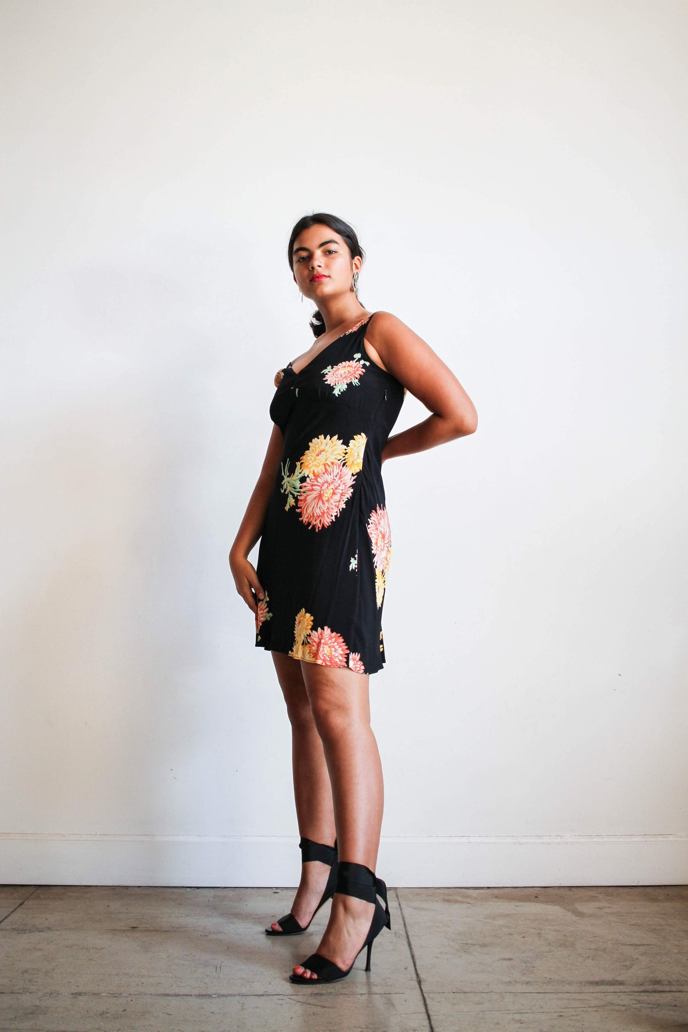 1990s Rayon Chrysanthemum Bias Mini Dress