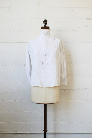 Edwardian White Linen Embroidered Blouse