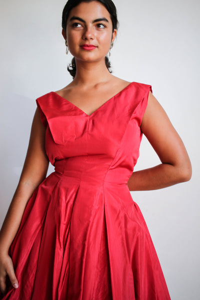 1950s Ruby Red Taffeta Party Dress