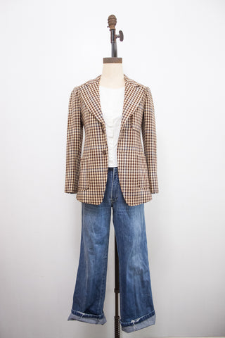 1960s Custom Tailored Houndstooth Wool Blazer