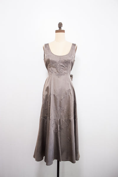 1980s Gunmetal Grey Embroidered Dress