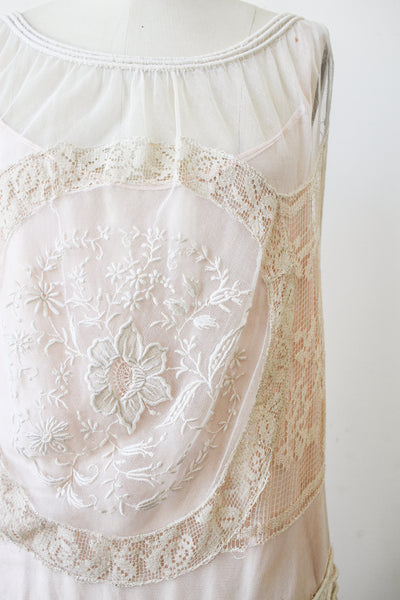 1920s Net Lace Medallion Floral Embroidered Dress