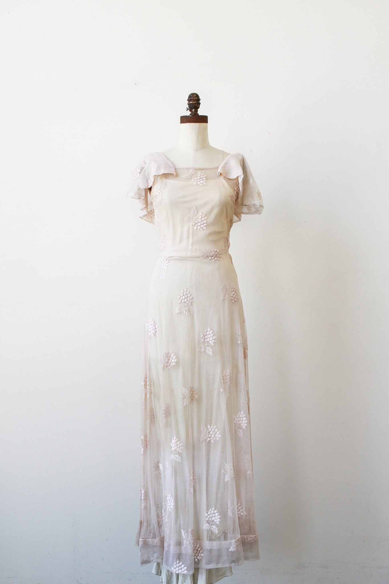 1930s Lilac Wisteria Embroidered Net Dress