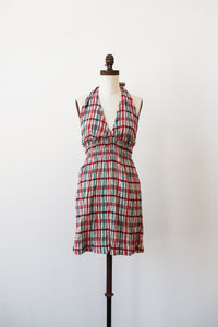 1970s Deadstock Gauzy Plaid Mini Dress