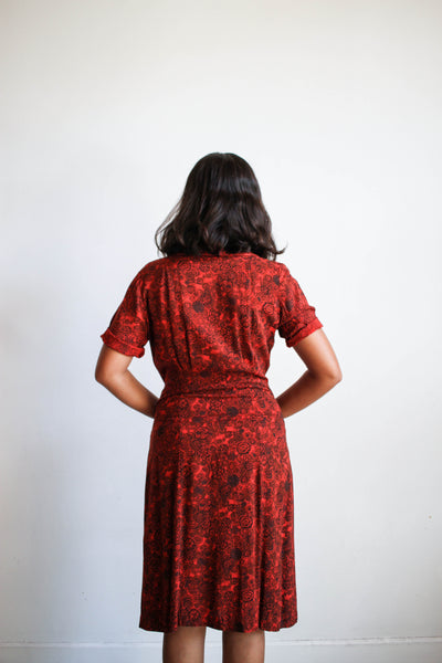 1950s Red Floral Print Cotton Dress