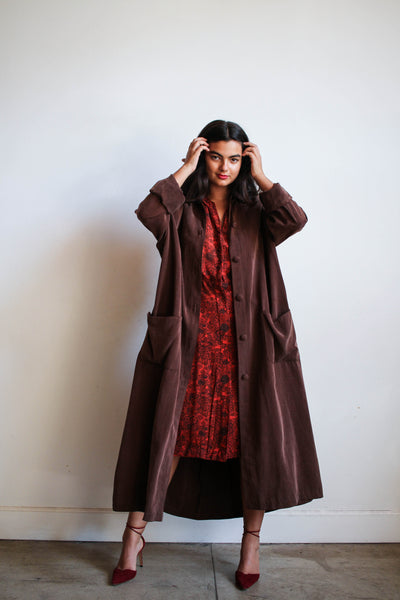 1980s Chocolate Rayon Long Trench Coat