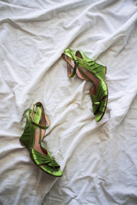 1990s Moschino Lime Satin Strap Wedges | 7