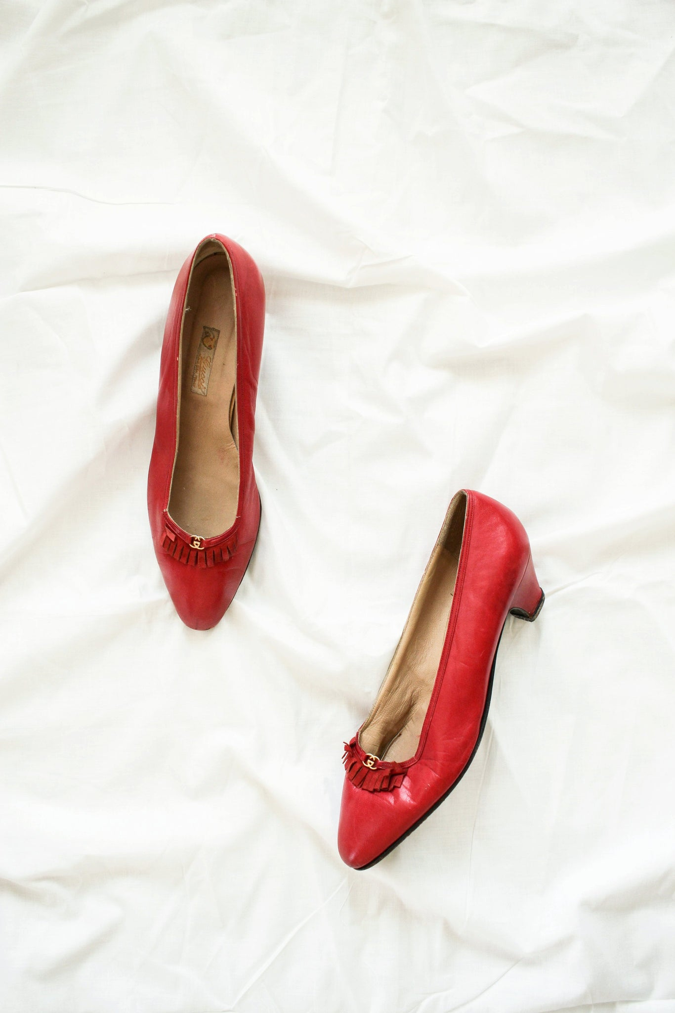 1960s Gucci Red Leather Heels | 7.5