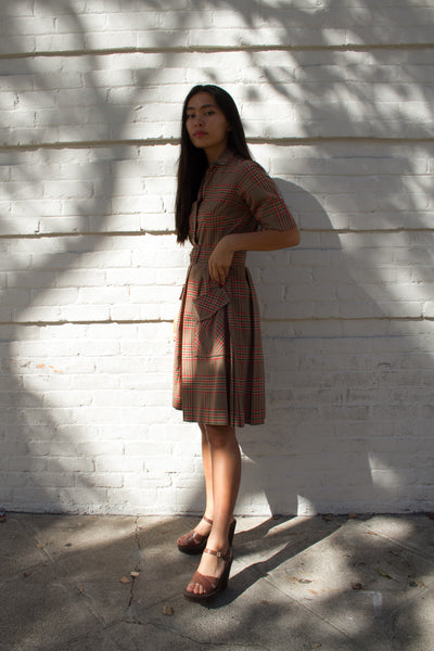 1960s I.Magnin Sherlock Plaid Shirt Dress