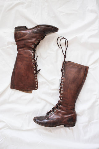 1920s Camp-Mocs Tall Leather Boots | 6.5