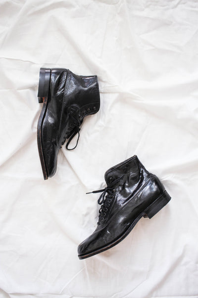Victorian Deadstock Patent Leather Ankle Boots | 9-9.5