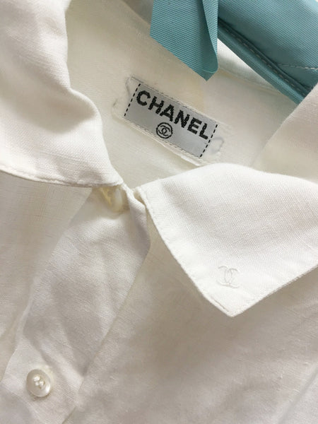 1980s CHANEL White Linen Blouse