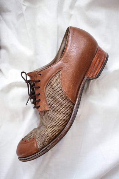 1930s Leather Woven Oxfords | 7 1/2