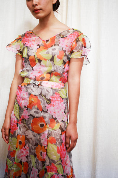 1930s Hydrangea Print Chiffon Bias Cut Dress