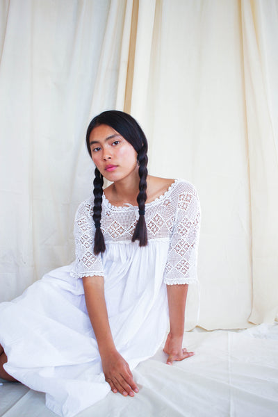 Victorian Cotton Crochet Yolk Night Dress